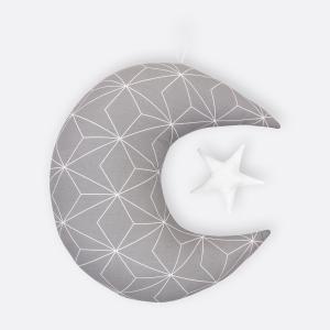 KraftKids Dekoration Mond und Stern weiße dünne Diamante auf Grau