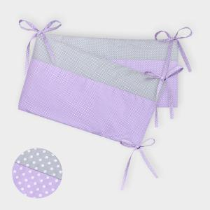 KraftKids Nestchen weiße Punkte auf Grau und weiße Punkte auf Lila Nestchenlänge 60-60-60 cm für Bettgröße 120 x 60 cm