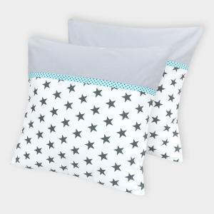 KraftKids Kissenbezug Unigrau und kleine graue Sterne auf Weiss