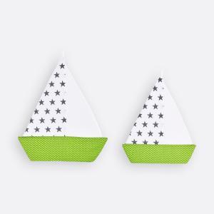 KraftKids Dekoration Segelboot kleine graue Sterne auf Weiss