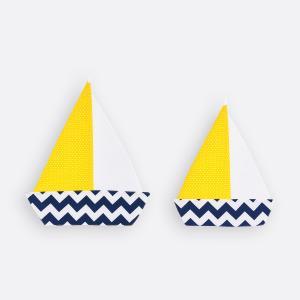 KraftKids Dekoration Segelboot Chevron dunkelblau