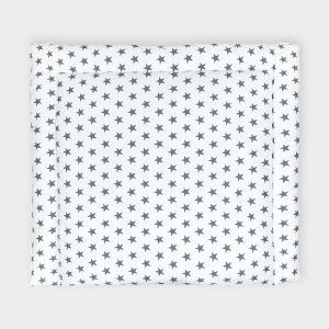 KraftKids Wickelauflage kleine graue Sterne auf Weiss breit 75 x tief 70 cm