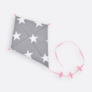 KraftKids Dekoration Luftdrache große weiße Sterne auf Grau