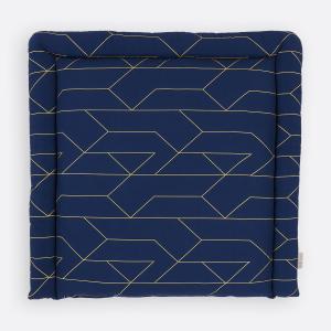 KraftKids Wickelauflage goldene Linien auf Dunkelblau breit 60 x tief 70 cm passend für Waschmaschinen-Aufsatz von KraftKids