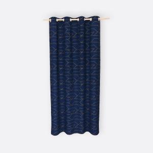 KraftKids Gardinen goldene Linien auf Dunkelblau Länge: 170 cm