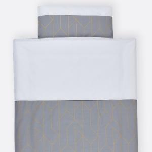 KraftKids Bettwäscheset goldene Linien auf Grau 140 x 200 cm, Kissen 80 x 80 cm
