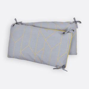KraftKids Nestchen goldene Linien auf Grau Nestchenlänge 60-60-60 cm für Bettgröße 120 x 60 cm
