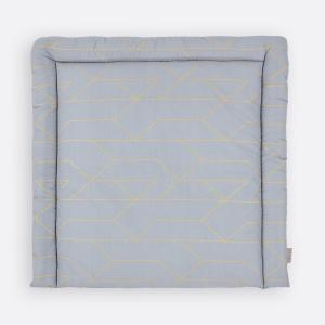 KraftKids Wickelauflage goldene Linien auf Grau breit 78 x tief 78 cm z. B. für MALM oder HEMNES Kommodenaufsatz von KraftKids
