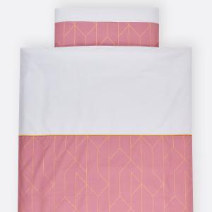KraftKids Bettwäscheset goldene Linien auf Rosa 100 x 135 cm, Kissen 40 x 60 cm