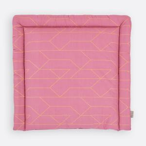 KraftKids Wickelauflage goldene Linien auf Rosa breit 78 x tief 78 cm z. B. für MALM oder HEMNES Kommodenaufsatz von KraftKids