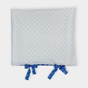 KraftKids Bezug für Wickeltischauflage weiße Anker auf Dunkelblau und weiße Anker auf Grau