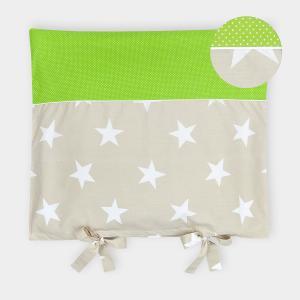 KraftKids Bezug für Wickeltischauflage große weiße Sterne auf Beige und weiße Punkte auf Grün
