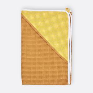 KraftKids Kapuzenhandtuch weiße Punkte auf Gelb und Waffel Piqué mustard