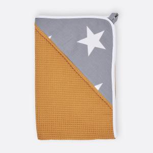 KraftKids Kapuzenhandtuch große weiße Sterne auf Grau und Waffel Piqué mustard