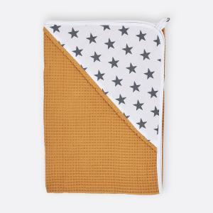 KraftKids Kapuzenhandtuch kleine graue Sterne auf Weiss und Waffel Piqué mustard