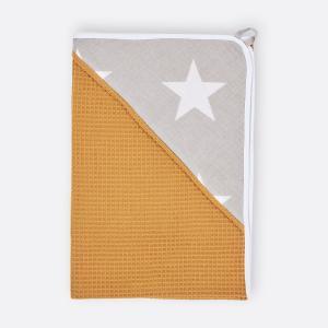 KraftKids Kapuzenhandtuch große weiße Sterne auf Beige und Waffel Piqué mustard
