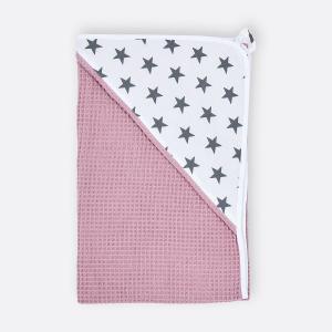 KraftKids Kapuzenhandtuch kleine graue Sterne auf Weiss und Waffel Piqué rosa