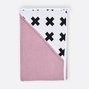 KraftKids Kapuzenhandtuch schwarze Pluszeichen und Waffel Piqué rosa