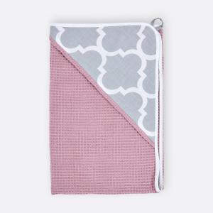 KraftKids Kapuzenhandtuch marokkanisches Klee grau und Waffel Piqué rosa