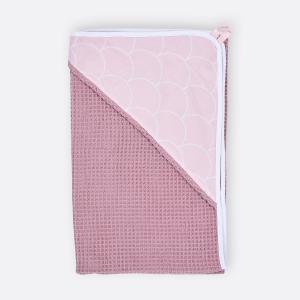 KraftKids Kapuzenhandtuch weiße Halbkreise auf Pastelrosa und Waffel Piqué rosa