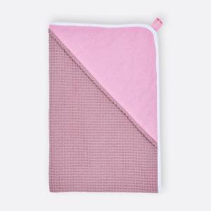 KraftKids Kapuzenhandtuch Unirosa und Waffel Piqué rosa