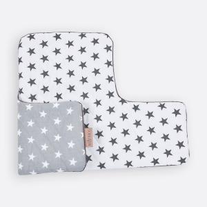 KraftKids Sitzverkleinerer kleine weiße Sterne auf Grau und kleine graue Sterne auf Weiss Hochstuhl Hochstuhleinlage