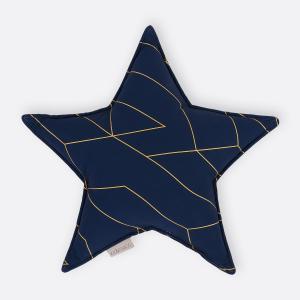 KraftKids Dekoration Sternkissen goldene Linien auf Dunkelblau