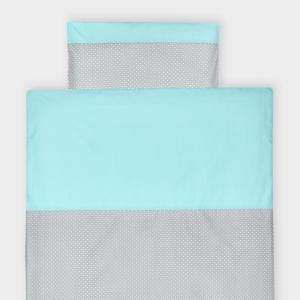 KraftKids Bettwäscheset weiße Punkte auf Grau und weiße Punkte auf Mint 100 x 135 cm, Kissen 40 x 60 cm