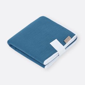 KraftKids Reisewickelunterlage Musselin blau 3 Lagen wasserundurchlässig weich Frotte 100% Baumwolle
