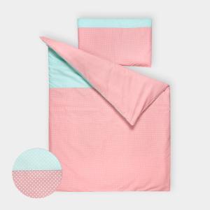 KraftKids Bettwäscheset weiße Punkte auf Koralrosa und weiße Punkte auf Mint 100 x 135 cm, Kissen 40 x 60 cm
