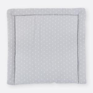 KraftKids Wickelauflage Musselin grau Anker breit 60 x tief 70 cm passend für Waschmaschinen-Aufsatz von KraftKids
