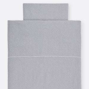 KraftKids Bettwäscheset Musselin grau Punkte 100 x 135 cm, Kissen 40 x 60 cm
