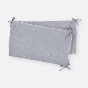 KraftKids Nestchen Musselin grau Punkte Nestchenlänge 60-70-60 cm für Bettgröße 140 x 70 cm