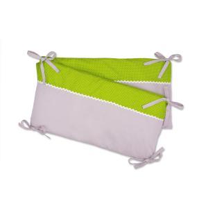 KraftKids Nestchen Unigrau und weiße Punkte auf Grün Nestchenlänge 60-70-60 cm für Bettgröße 140 x 70 cm
