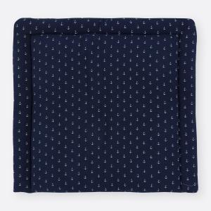 KraftKids Wickelauflage Musselin dunkelblau Anker breit 60 x tief 70 cm passend für Waschmaschinen-Aufsatz von KraftKids