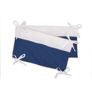 KraftKids Nestchen Uniweiss und weiße Punkte auf Dunkelblau Nestchenlänge 60-70-60 cm für Bettgröße 140 x 70 cm