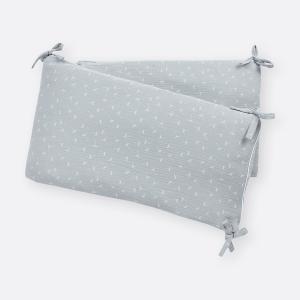KraftKids Nestchen Musselin grau Pusteblumen Nestchenlänge 60-60-60 cm für Bettgröße 120 x 60 cm