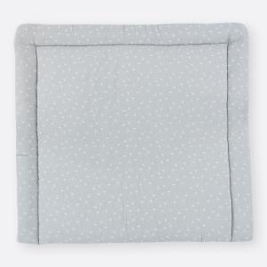 KraftKids Wickelauflage Musselin grau Pusteblumen breit 78 x tief 78 cm z. B. für MALM oder HEMNES Kommodenaufsatz von KraftKids