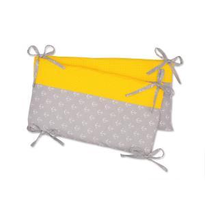 KraftKids Nestchen weiße Anker auf Grau und weiße Punkte auf Gelb Nestchenlänge 60-70-60 cm für Bettgröße 140 x 70 cm