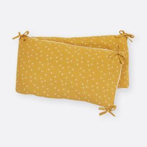 KraftKids Nestchen Musselin gelb Pusteblumen Nestchenlänge 60-70-60 cm für Bettgröße 140 x 70 cm