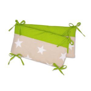 KraftKids Nestchen große weiße Sterne auf Beige und weiße Punkte auf Grün Nestchenlänge 60-70-60 cm für Bettgröße 140 x 70 cm