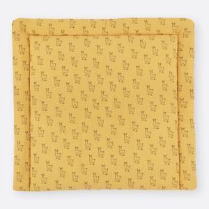 KraftKids Wickelauflage Musselin gelb Lamma breit 78 x tief 78 cm z. B. für MALM oder HEMNES Kommodenaufsatz von KraftKids