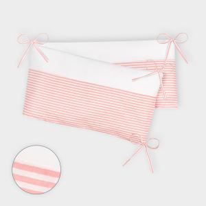 KraftKids Nestchen Uniweiss und Streifen rosa Nestchenlänge 60-70-60 cm für Bettgröße 140 x 70 cm