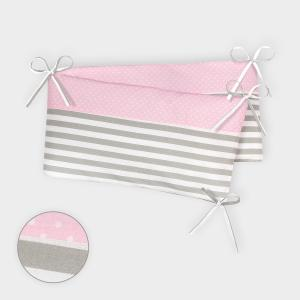 KraftKids Nestchen weiße Punkte auf Rosa und dicke Streifen grau Nestchenlänge 60-70-60 cm für Bettgröße 140 x 70 cm