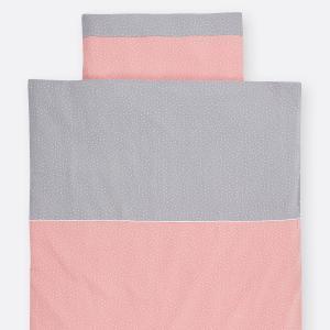 KraftKids Bettwäscheset Musselin grau Punkte und Musselin rosa Punkte 100 x 135 cm, Kissen 40 x 60 cm