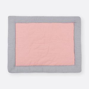 KraftKids Krabbeldecke Musselin grau Punkte und Musselin rosa Punkte