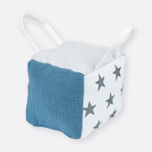 KraftKids Motorikwürfel aus Stoff kleine graue Sterne auf Weiss 100% Baumwolle sehr weich