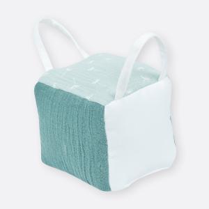 KraftKids Motorikwürfel aus Stoff Musselin nilblau 100% Baumwolle sehr weich