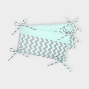 KraftKids Nestchen weiße Punkte auf Mint und Chevron hellgrau und mint Nestchenlänge 60-70-60 cm für Bettgröße 140 x 70 cm