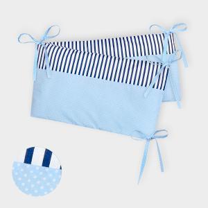 KraftKids Nestchen weiße Punkte auf Hellblau und Streifen dunkelblau Nestchenlänge 60-70-60 cm für Bettgröße 140 x 70 cm